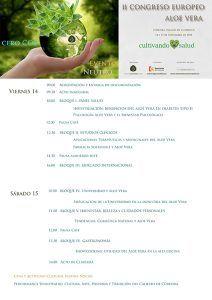 Programa inicial II Congreso Europeo de Aloe Vera